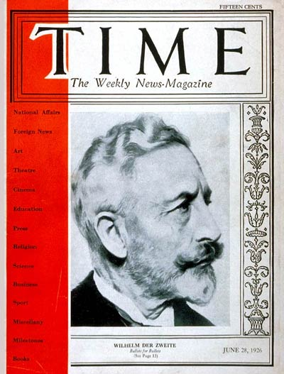 TIME Magazine Cover: Wilhelm II -- June 28, 1926