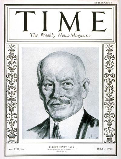 TIME Magazine Cover: Elbert Henry Gary -- July 5, 1926