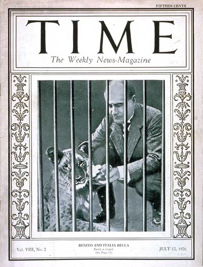 TIME Magazine Cover: Benito Mussolini -- July 12, 1926