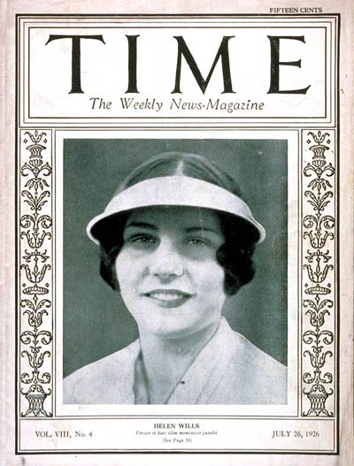 TIME Magazine Cover: Helen Wills -- July 26, 1926