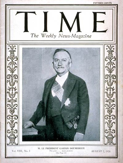 TIME Magazine Cover: Gaston Doumergue -- Aug. 2, 1926
