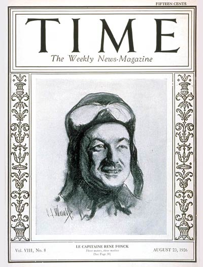 TIME Magazine Cover: Captain René Fonck -- Aug. 23, 1926