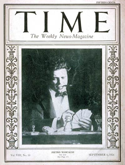 TIME Magazine Cover: Pietro Mascagni -- Sep. 6, 1926