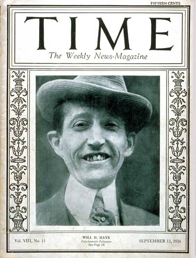 TIME Magazine Cover: Will H. Hays -- Sep. 13, 1926
