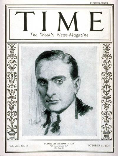 TIME Magazine Cover: Ogden L. Mills -- Oct. 11, 1926
