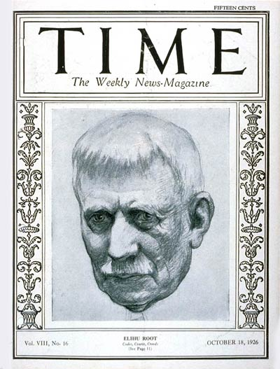 TIME Magazine Cover: Elihu Root -- Oct. 18, 1926