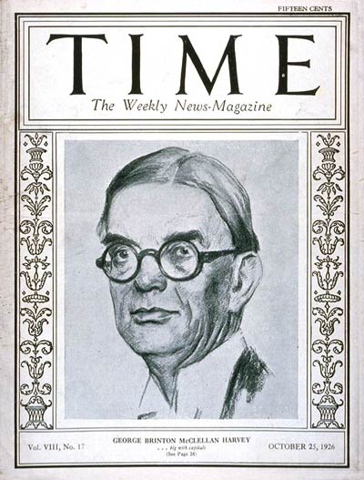 TIME Magazine Cover: George B. Harvey -- Oct. 25, 1926