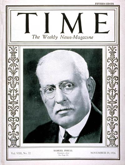TIME Magazine Cover: Samuel Insull -- Nov. 29, 1926