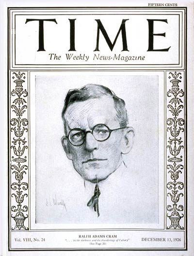 TIME Magazine Cover: Ralph A. Cram -- Dec. 13, 1926