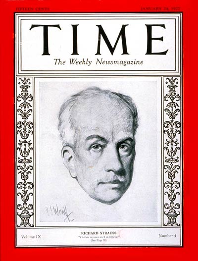 TIME Magazine Cover: Richard Strauss -- Jan. 24, 1927