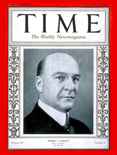 TIME Magazine Cover: Pierre S. DuPont -- Jan. 31, 1927