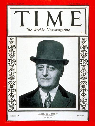 TIME Magazine Cover: Mortimer L. Schiff -- Feb. 14, 1927