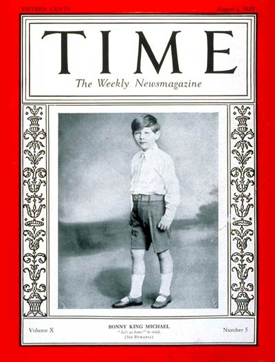 TIME Magazine Cover: King Michael I -- Aug. 1, 1927