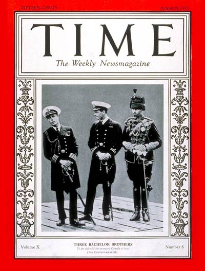 TIME Magazine Cover: Prince Edward, Prince Henry & Prince George -- Aug. 8, 1927