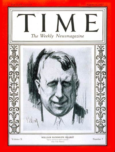 TIME Magazine Cover: William Randolph Hearst -- Aug. 15, 1927