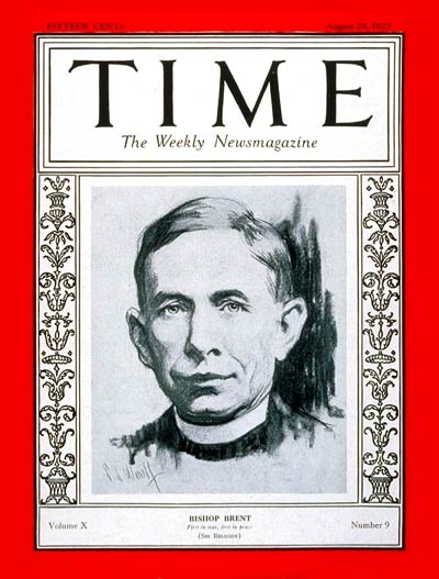 TIME Magazine Cover: Bishop Brent -- Aug. 29, 1927