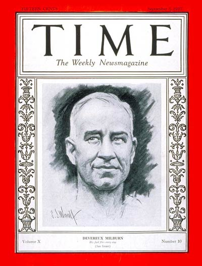 TIME Magazine Cover: Devereaux Milburn -- Sep. 5, 1927