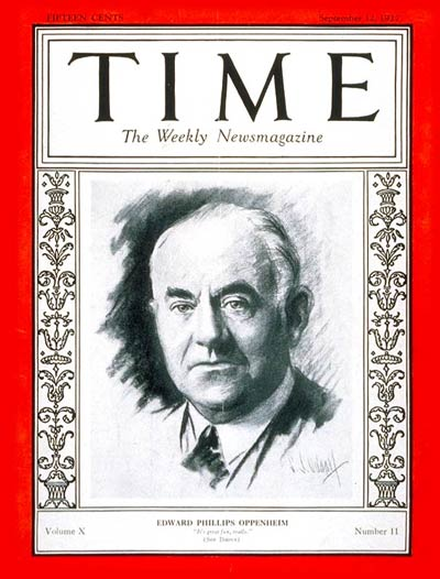 TIME Magazine Cover: E. Phillips Oppenheim -- Sep. 12, 1927