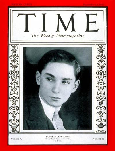 TIME Magazine Cover: Roger W. Kahn -- Sep. 19, 1927
