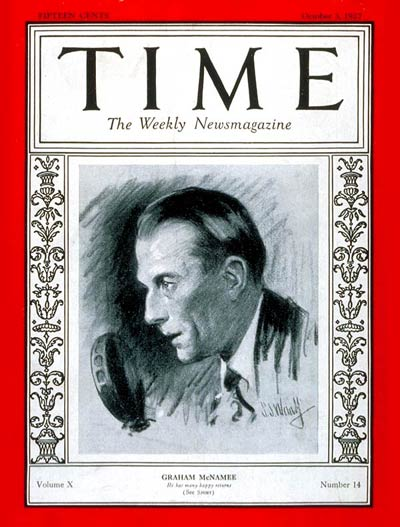 TIME Magazine Cover: Graham McNamee -- Oct. 3, 1927