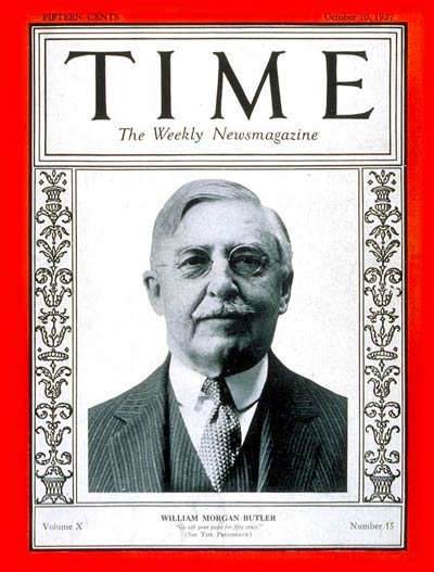 TIME Magazine Cover: William Morgan Butler -- Oct. 10, 1927