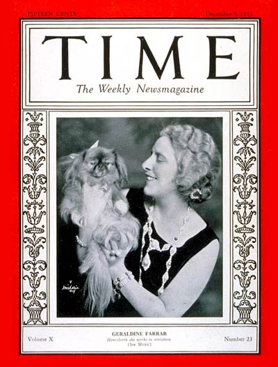 TIME Magazine Cover: Geraldine Farrar -- Dec. 5, 1927