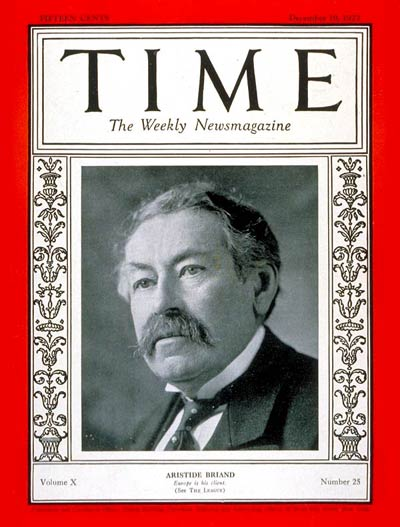 TIME Magazine Cover: Aristide Briand -- Dec. 19, 1927