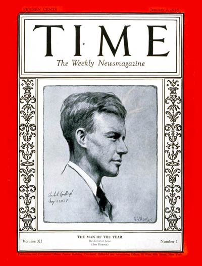 Charles Lindbergh was TIME's first Man of the Year. Drawing of Lindbergh by S.J. Woolf.