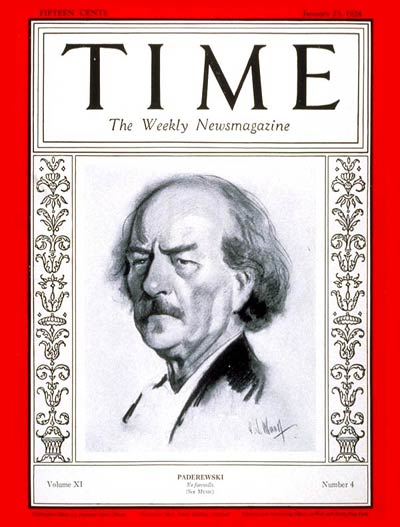 TIME Magazine Cover: Ignace Jan Paderewski -- Jan. 23, 1928