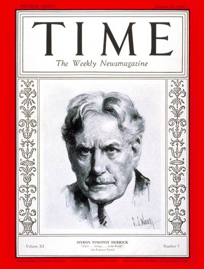 TIME Magazine Cover: Myron T. Herrick -- Jan. 30, 1928