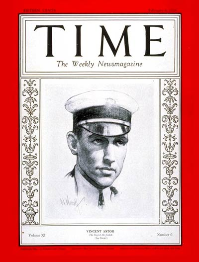 TIME Magazine Cover: Vincent Astor -- Feb. 6, 1928