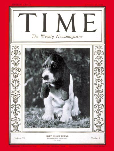TIME Magazine Cover: Baby Basset Hound -- Feb. 27, 1928