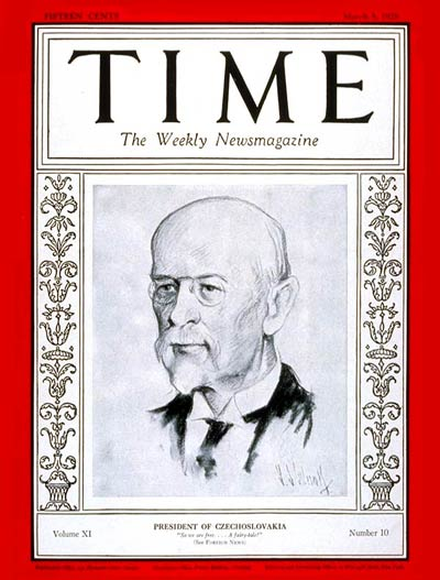 TIME Magazine Cover: Thomas G. Masaryk -- Mar. 5, 1928