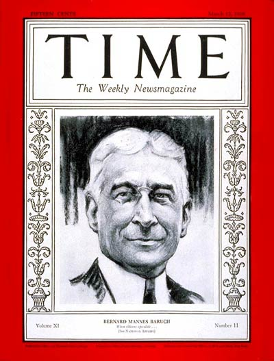 TIME Magazine Cover: Bernard M. Baruch -- Mar. 12, 1928