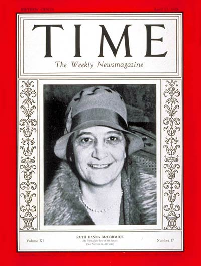 TIME Magazine Cover: Ruth H. McCormick -- Apr. 23, 1928