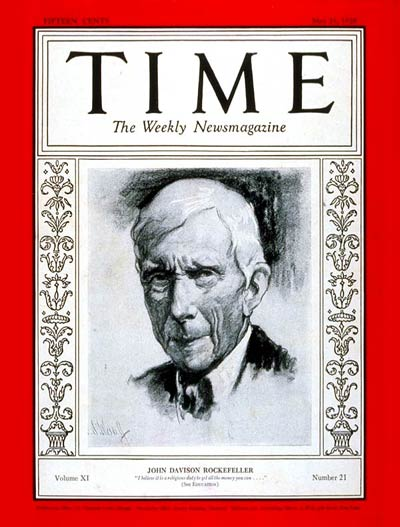 TIME Magazine Cover: John D. Rockefeller -- May 21, 1928