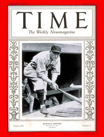 TIME Magazine Cover: Rogers Hornsby -- July 9, 1928