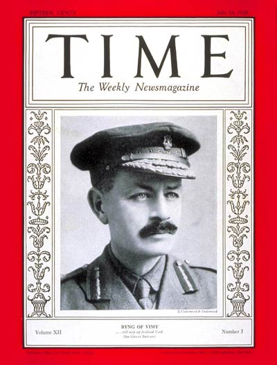 TIME Magazine Cover: Julian H.G. Byng -- July 16, 1928