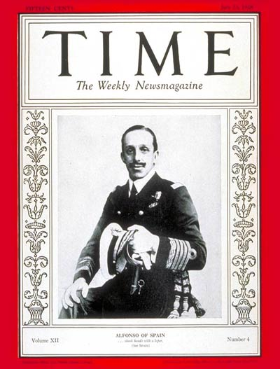 TIME Magazine Cover: King Alfonso XIII -- July 23, 1928