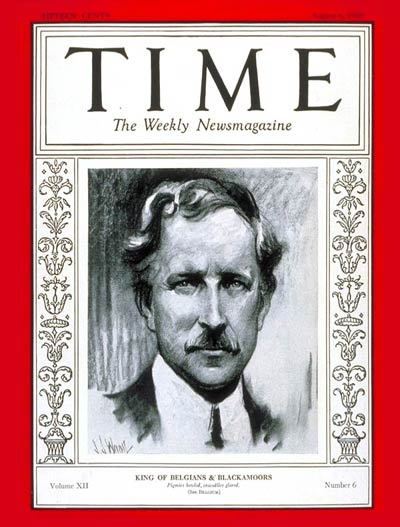 TIME Magazine Cover: King Albert I -- Aug. 6, 1928