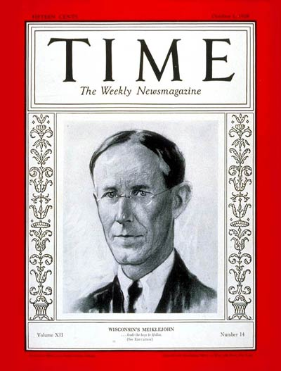 TIME Magazine Cover: Alexander Meiklejohn -- Oct. 1, 1928
