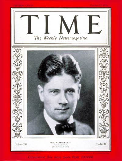 TIME Magazine Cover: Philip LaFollette -- Oct. 22, 1928