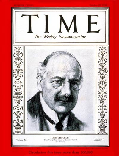 TIME Magazine Cover: Lord Melchett -- Oct. 29, 1928
