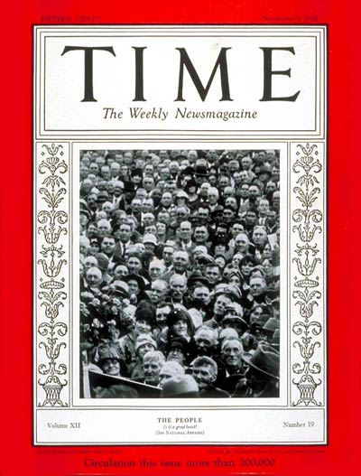 TIME Magazine Cover: American People -- Nov. 5, 1928