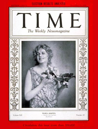TIME Magazine Cover: Maria Jeritza -- Nov. 12, 1928