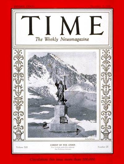 TIME Magazine Cover: Christ of the Andes -- Dec. 17, 1928