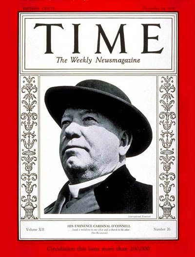 TIME Magazine Cover: Cardinal O'Connell -- Dec. 24, 1928