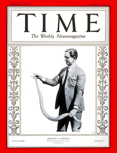 TIME Magazine Cover: Dr. Afranio do Amaral -- Jan. 28, 1929