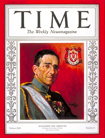 TIME Magazine Cover: King Alexander -- Feb. 11, 1929