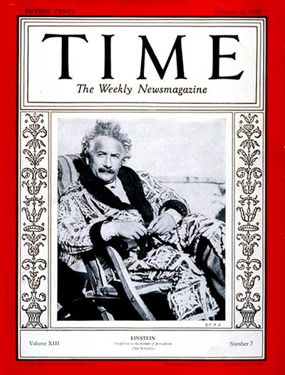 TIME Magazine Cover: Albert Einstein -- Feb. 18, 1929